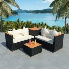 <b>4 Piece Garden Lounge</b> Set with Cushions Poly Rattan Black