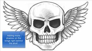 How to Draw a <b>Skull</b> with <b>Wings</b> (Part 1 of 2) - YouTube