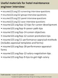 15 useful materials for hotel maintenance engineer sample hotel engineer resume