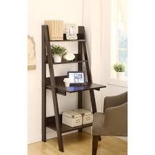 modern brown varnished teak wood book case ladder shelf with white home decore beach black home office laptop desk furniture