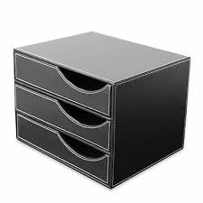Office Desk PU <b>Leather</b> Wooden Structure <b>3 Drawer</b> Desk <b>Filing</b> ...