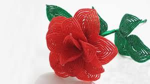 French <b>beaded</b> flowers : rose pattern - YouTube