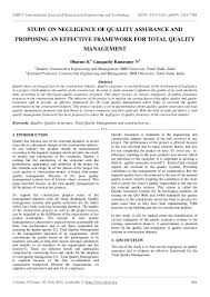 study on negligence of quality assurance and proposing an effective f