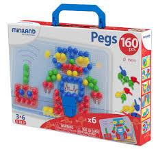 "<b>Мозаика Miniland</b> ""<b>Pegs</b>"", 15 мм (160 элементов, 6 картинок) в ..."