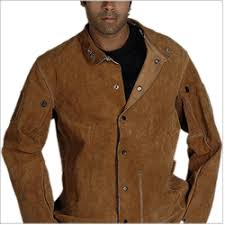 description welder jacket made in brown split stitched with kevlar threads leather brown split leather description of a welder