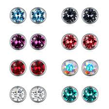 Umcho <b>S925</b> Sterling Silver <b>Round</b> Ear Studs Earrings-buy at a low ...