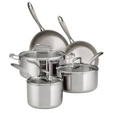 Tramontina <b>8 Pc</b> Tri-Ply Clad <b>Stainless Steel</b> Cookware Set with ...