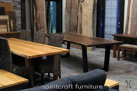 walnut cherry dining: black walnut and cherry live edge dining table on wooden and stainless