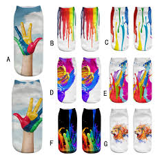 Cute Casual Work Business <b>Socks 3D</b> Rainbow <b>Paint Print</b> Medium ...