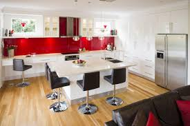 luxurious white kitchen in combination with sparkling red and modern black chairs with white kitchen table black white modern kitchen tables