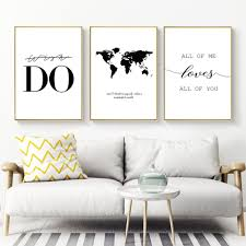 <b>Quotes Painting Canvas Print</b> Black And White Wall Art Nordic ...
