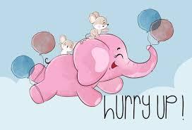Cute <b>animal baby elephant</b> happy flying with balloon illustration   + ...