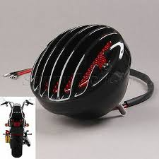 Plastic Grille Red Lens <b>Motorcycle</b> Round <b>Tail</b> Rear Stop Black ...