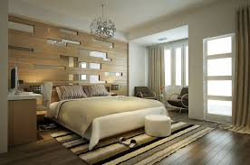 formal modern bedroom design with cozy bed and work desk in the bedside and circular pouf and striped rug also awesome glass mixed wood wall panels behind bedroom wood wall panel