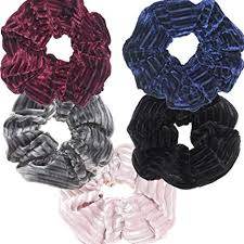 Hair Scrunchies Striped Velvet Fabric Hair Ring ... - Amazon.com