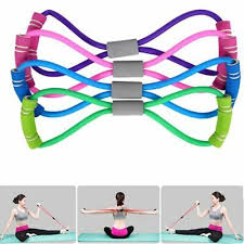Fitness <b>8 Word</b> Elastic <b>Resistance Bands</b> Tube Workout Exercise ...