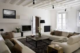 white apartment living room decor ideas white sofa brown cushions gray fur rug black floor lamp beautiful white living room