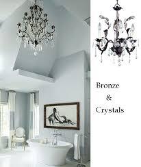bronze crystal leafy bathroom chandelier bathroom chandelier lighting ideas