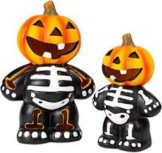 iN Flashing LED 2 Pack <b>Pumpkin Skeleton Halloween</b> Decoration ...