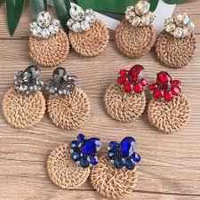 Korea <b>Handmade</b> Wooden <b>Straw Weave</b> Rattan Vine Braid Drop ...