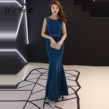 It's YiiYa <b>Evening</b> Dress <b>2019</b> Deep Blue Beading <b>Crystal</b> O neck ...