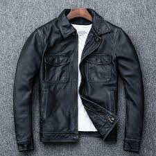 Online Shop AYUNSUE <b>Genuine Cow Leather</b> Jacket <b>Men</b> Plus ...