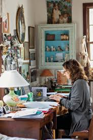 i love this bohemian home office space vintage lamp on the desk framed shelf chic vintage home office