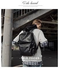 <b>MOYYI</b> PU Leather <b>Backpack Men</b> Travel <b>Bag</b> Waterproof Simple ...