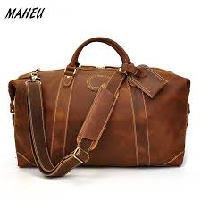 Crazy Horse <b>Genuine Leather Travel</b> Hand Luggage Bag for Men ...