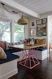 breakfast nook love the patterned pillows table plus surrounding windows breakfast nook table