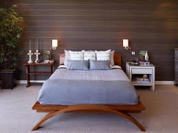 fabulous master bed made of wooden elements installed between fabulous wall lamps for bedroom reading coupled with minimalist designed sideboard on grey rug bedroom lighting guide