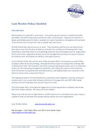 lone worker safety lone worker policy checklist 1 0