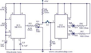 electronic toss circuit   electronic circuits and diagram    electronic toss circuit