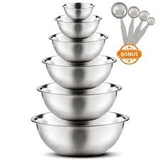 Shop <b>High Quality</b> Large Stainless Steel <b>6 pcs</b>. Mixing Bowl Set with ...