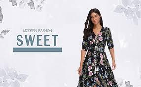 Summer Floral Print <b>Maxi Dress Women</b> Button Up Split Long Flowy ...