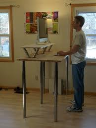 fabulous ikea sit stand desk helping the man to use the computer designed with metal table captivating home office desktop