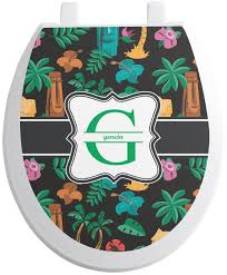 masks bathroom accessories set personalized potty: hawaiian masks toilet seat decal personalized