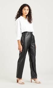 <b>Faux Leather</b> Ribcage Straight Jeans - Black | <b>Levi's</b>® GB