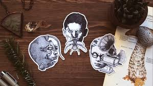 sartre philosopher sticker pack 3 stickers franz kafka albert camus jean paul sartre author portrait rat beetle gramophone laptop stickers
