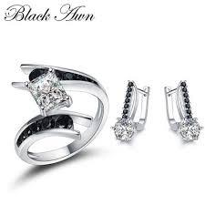 Купить комплект <b>серьги</b> и <b>кольцо с черным</b> камнем серебро от ...
