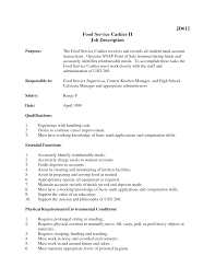 cashier resume objective  seangarrette cocashier job description for resume food service cashier