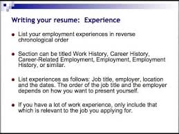 Example Resume  Resume Samples In Canada  professional experience     Example of an Employment history section of a CV