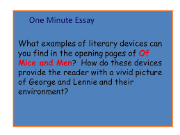 one minute essay what examples of literary devices can you find in    one minute essay what examples of literary devices can you in the opening pages of