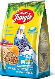 Корм сухой <b>Happy Jungle для волнистых</b> попугаев в период ...