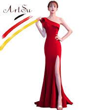 ArtSu Elegant Blue <b>Long</b> Prom Gown Women <b>Sexy</b> Split Ruffle <b>One</b> ...