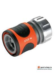 <b>Коннектор Gardena Premium</b> 13 мм (<b>1/2</b>) с автостопом 08168 ...