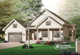 House plan W detail from DrummondHousePlans comfront   BASE MODEL bedroom bungalow   covered porches front  amp  back and garage