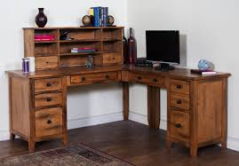 full size of desk classic corner desks with hutch solid wood construction antique wood finish brown solid wood shape home