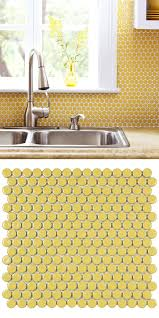 this yellow penny round tile creates such a bright and cheerful look used here as cafe lighting 8900 marrakech wall