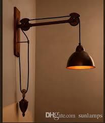 2019 <b>Bar Rustic</b> Spindle Pulley Wall Lamp Light E27 <b>Led</b> Bulb ...